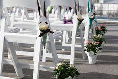 Aisle decor, petal cones, mini rose bushes, DIY wedding decor