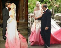 Gwen Stefani in her white and pink ombre wedding dress, designed by Galliano