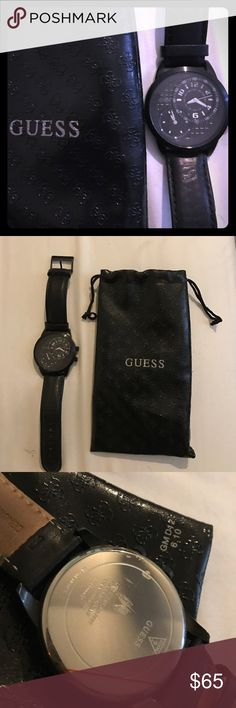 Black leather guess watch with unique holding bag The watch works and is in perfect condition except for scratching as shown in picture three on the back of the watch plate that is not visible to anyone. Guess Accessories Watches