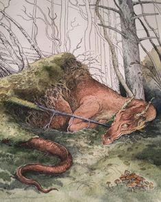 Art Prints by Lily Seika Jones on Etsy Magical Creatures, Fantasy Creatures, Fantasy World, Fantasy Art, Illustrations, Illustration Art, Fairytale Art, Dragon Art, Autumn Trees
