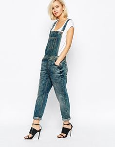 Selected Dungarees in Washed Denim