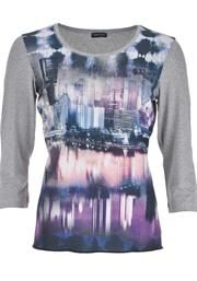 Gerry Weber Graphic Print Front Top, Grey Multi