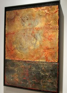 "Elise Wagner, Event Horizon, 36""24"", encaustic, monoprint, oil on panel"