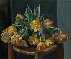 Double Yellow Tulips on a Wicker Chair (1923) - Félix Vallotton