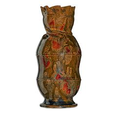 """Lot# 22 GEORGE OHR (1857 - 1918) Fine and large vessel with in-body twist and folded rim, ochre and red sponged-on glaze, Biloxi, MS, 1897-1900 Stamped G.E. OHR Biloxi, Miss. 9 1/4"""" x 4 1/4""""   Estimate: $20,000 - 30000 Sale Price: $47,500"""