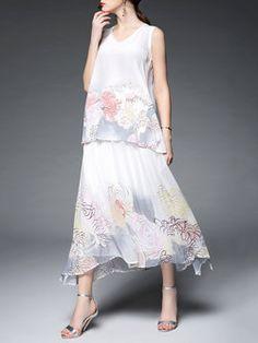 Vintage Crew Neck Sleeveless Floral Three Piece Midi Dress