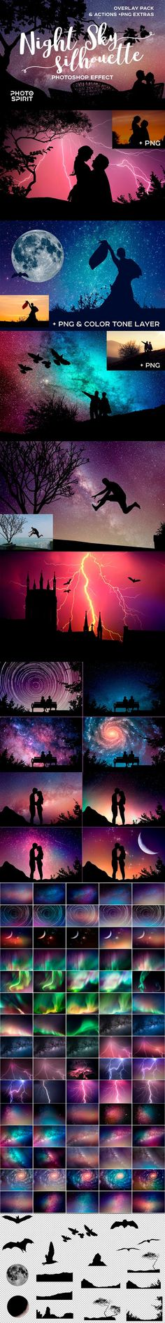 Night Sky Silhouette Actions by PhotoSpirit on @creativemarket