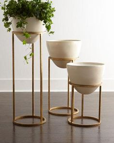 Decor/accessories - Cast from a biodegradable, eco-friendly stone composite containing no resin, these planters have removable fiberglass liners that keep the containers watertight . Living Room Designs, Living Room Decor, Bedroom Decor, House Plants Decor, Plant Decor, Gold Planter, Decoration Plante, Iron Decor, Plant Shelves
