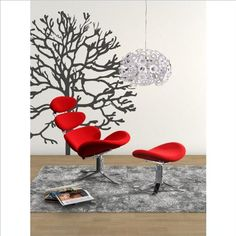 Velour Red Contemporary Lounge Chair w Ottoman