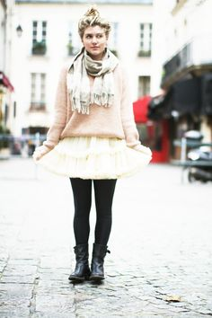 tulle skirt and comfy sweater