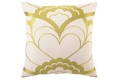 Deco Floral 20x20 Linen Pillow, Citron on OneKingsLane.com