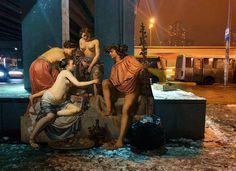 alexey kondakov integrates classical art with contemporary city scenes images courtesy of alexey kondakov