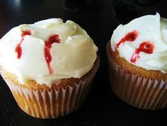 Vampire Fang Cupcakes. Halloween or True Blood Party. Maybe Buffy Marathon? (Just for you Anita)