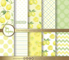 Lemons, Lemon, Limes watercolor Digital Paper hand painted blog backgrounds, vintage digital paper, shabby chic, lemons patterns, art paper