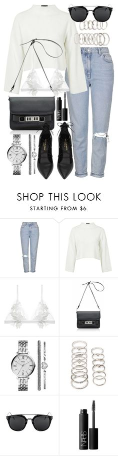 """Untitled #19706"" by florencia95 ❤ liked on Polyvore featuring Topshop, For Love & Lemons, Proenza Schouler, Yves Saint Laurent, FOSSIL, Forever 21 and NARS Cosmetics"