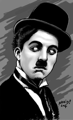 On April future Hollywood legend Charlie Chaplin is born Charles Spencer Chaplin in London, England. Celebrity Caricatures, Painting People, Portrait Illustration, Caricature, Charles, Painting Corner, Ernesto Che, Camera Sketches, Charlie Chaplin
