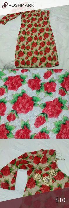 Floral lace minidress Floral lace minidress,  one sleeve.  Small size. freshine Dresses One Shoulder