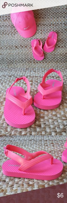 Old Navy toddler flip flops Hot pink super cute flip flops. Only worn maybe twice. I ordered them online and my daughter didn't try them on. They just don't fit her well. EUC! Old Navy Shoes Sandals & Flip Flops