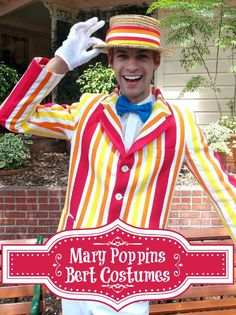 Don't you love those brightly colored Mary Poppins Bert Costumes? These dapper costumes for men are like wearing a smile.