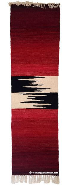 Your Daily Dose of Inspiration! Blended Reds Zig-Zag Runner by Pat Dozier, hand-dyed wool, Enjoy! Tapestry Weaving, Loom Weaving, Hand Weaving, Weaving Designs, Weaving Projects, Woven Image, Weaving Wall Hanging, Peg Loom, Jute Crafts