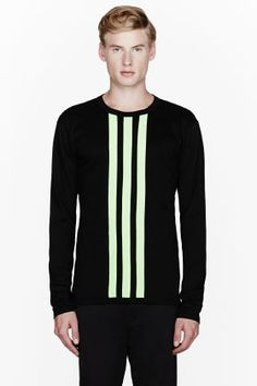 Y-3 Fluorescent green striped t-shirt