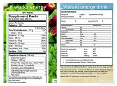 Here is a little comparison chart between ItWorks Energy Drink and Vibrant Energy Drink! You be the judge... :)