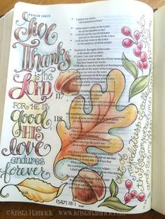 Give Thanks, bible art journaling, illustrated failth
