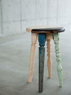 The legs of 4 chairs /  equal 4 stools or little tables.