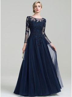 A-Line/Princess Scoop Neck Floor-Length Tulle Evening Dress With Beading Sequins (017092354)
