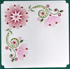 Latest Trend in Paper Embroidery - Craft & Patterns Embroidery Cards, Learn Embroidery, Beaded Embroidery, Embroidery Stitches, Embroidery Patterns, Hand Embroidery, Card Patterns, Flower Patterns, String Art Patterns