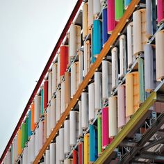 Eco-Curtain wind-harvesting façade by Inaba Electric Works, in Nagoya, Japan.