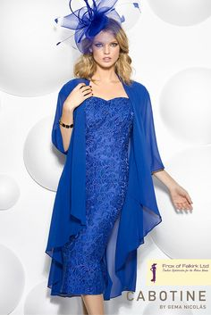 A gorgeous blue mother of the bride or mother of the groom wedding guest outfit by Cabotine. Frox of Falkirk fashion.