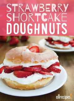 Substitute a glazed doughnut for shortcake in this quick and easy recipe for delicious glazed doughnut strawberry shortcake!