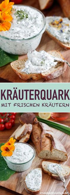 Herb quark with fresh herbs and lemon - Pesto und Dip Rezepte - Raw Food Recipes Cheese Recipes, Raw Food Recipes, Food Network Recipes, Quark Recipes, Fresco, Avocado Dessert, Cooking Herbs, Food Blogs, Fresh Herbs