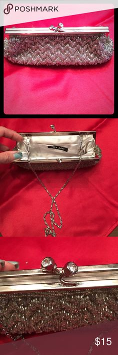 Evening Bag Silver beaded evening bag with hidden chain strap Bags