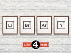 Library Periodic Elements 4 Prints Package, Inspirational Quote, Teacher Gift, Librarian Gift, Giclee Archival Print on Etsy, $62.00