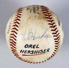 Los Angeles Dodgers  Orel Hershiser Game-Used 100th Win Signed ONL Baseball ...