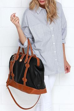 Cool Tan and Black Bag - Weekender Bag - Doctor Bag - $54.00