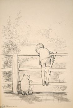 On sale: An original sketch of Winnie the Pooh playing Poohsticks with his friends Piglet and Christopher Robin is set to sell for more than £100,000 when it goes under the hammer next month