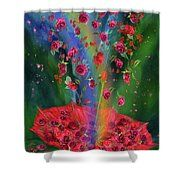 Raining Roses 2 Shower Curtain featuring the art of Carol Cavalaris. This is a companion image to Raining Roses 1.