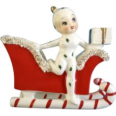 Vintage Holt Howard Pixie Elf Girl Candy Cane Sleigh Candle Holder Planter Vase With Spaghetti Made in 1959 Japan HH Ceramic Figurine