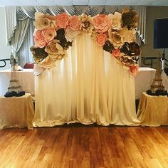 Just finished this PAPER flower backdrop for tonight's quinceanera #flower #paperflower #paperflowers #backdrop #paperflowersbackdrop #pipeanddrape #draping #eiffeltower #eifeltower #quinceañera #quince #quinceanera #quinceaños #quinceñera #quinceanos #quinceaneras #15