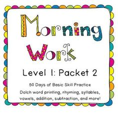 Morning work Level 1: Packet 2 for Kindergarten and First Grade $8.50  50 Days of Morning work for K and 1