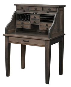 Amish Mission Secretary Roll Top Desk - Quick Ship Versatility makes this secretary roll top desk fit in right where you need it to. Exceptional craftsmanship with a gorgeous array of drawers, cubbies, slots and compartments. #secretarydesk #rolltopdesk #desk