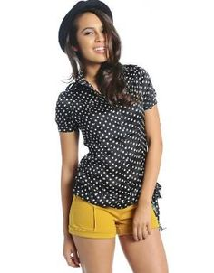 Missy Polka Dot Blouse Black. Keep it girly by pairing it with a pleated skirt and pumps, or toughen it up street chic style with leather shorts and platform booties. Featuring a side bow.. See More Blouses and Shirts at http://www.ourgreatshop.com/Blouses-Shirts-C78.aspx