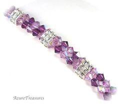 Swarovski Purple Crystal Bracelet, Purple Bracelet, Rhinestones, Double Strand, Bridesmaids Jewelry, Bridal, Wedding Jewelry