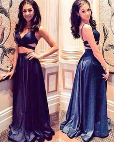 V-Neck prom dresses,Two Piece evening dresses,dark blue prom dresses,2016 Prom Dresses Sexy prom dresses,Open Back evening dresses,Satin party dresses,Party Gowns