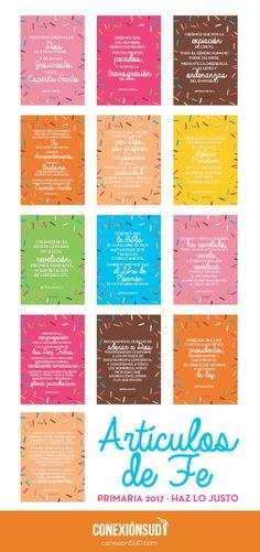 Estos carteles servirán para aprender los Artículos de Fe y memorizarlos…