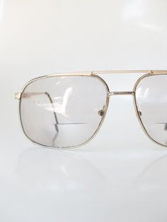 0c621e3074f Vintage 1980s Mens Aviator Eyeglasses Glasses Oversized Metallic Rose Gold  Golden Metallic 80s Eighties Huge Indie
