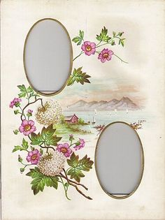 Lovely Mat from Victorian Photo Album, Chromolithograph Flowers